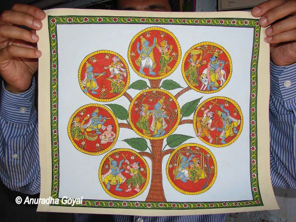 Krishna Lila in Cherial Painting