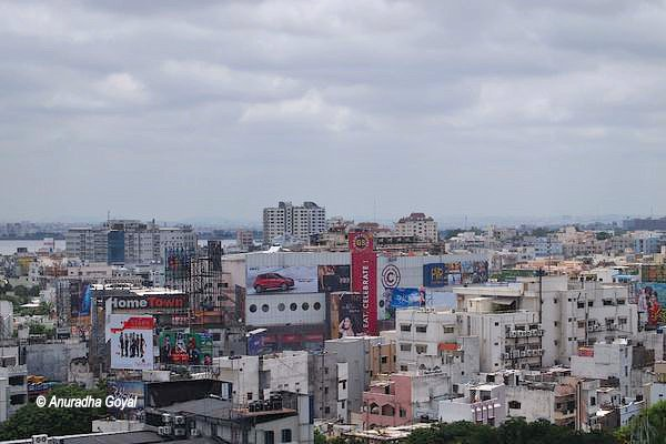 View of Hyderabad city from atop the Panjagutta rock hill