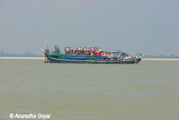Motorboat only mode of transportation to Majuli