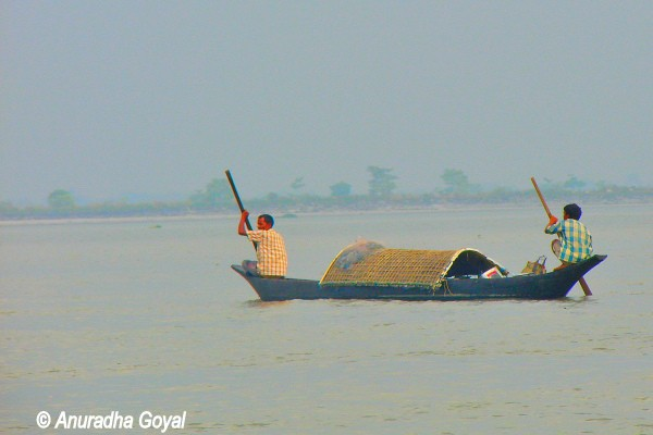 Traditional boat over Brahmaputra river