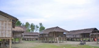 Tribal Huts by the Brahmaputra river