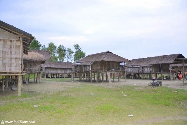Tribal Huts by the Brahmaputra river