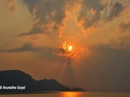 Sunset time over the mighty Brahmaputra river, Guwahati