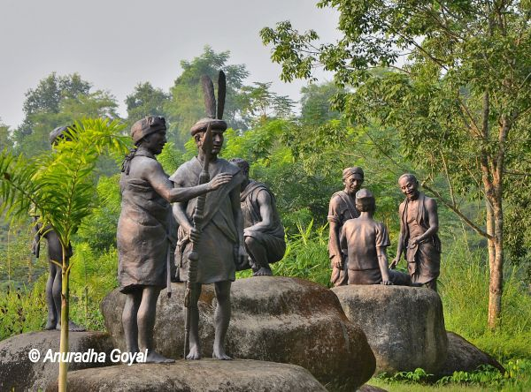 Sculptures of Tribals at artificially created ethnic village in Kohora range