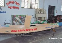 Cricket Bat shape car at Sudha Car Museum