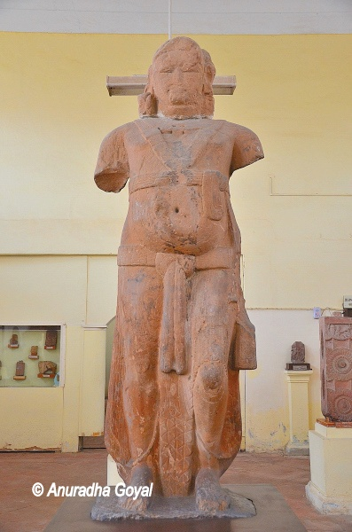 Giant statue of Yaksha in Mathura School of Art style in Red Stone at Mathura Museum