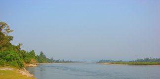 Jia Bhoroli river cris-crossing Nameri National Park