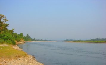 Jia Bhoroli river cris-crossing Nameri National Park