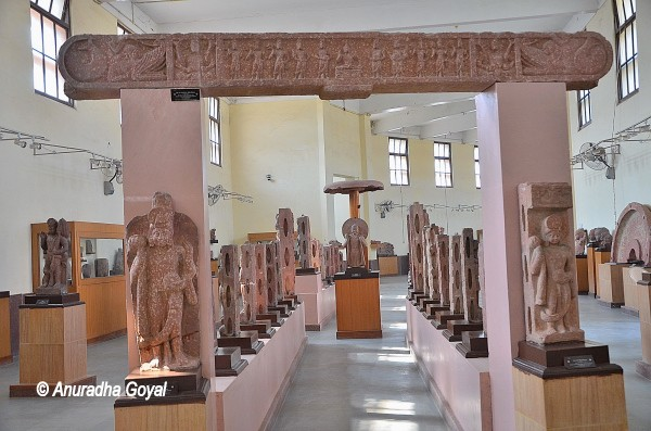 Mathura School of Art style sculptures in Red Stone on display