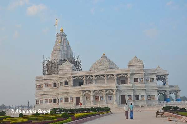 A new white marble temple of Radha Krishna being built at Braj Bhoomi