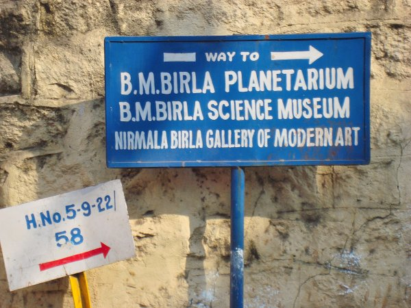 Sign-board on way to Birla Science Museum & Planetarium