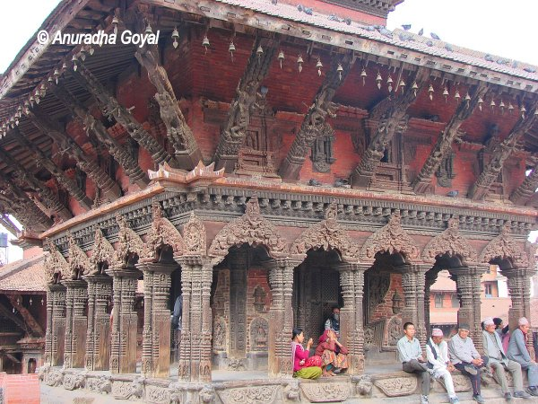 The finely carved wooden structure at Kathmandu Durbar Square