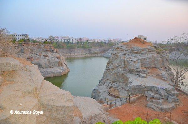 The rocky periphery Jayabheri Lake