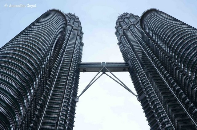 Bottom-up view of Petronas Twin Towers