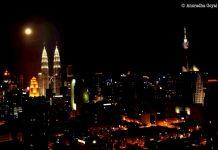Petronas Twin Towers on a Full Moon Night