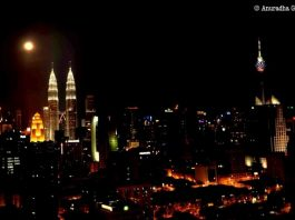 Petronas Twin Towers on a Full Moon Night