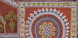 Tribal motifs on the walls of Purkhauti Muktangan
