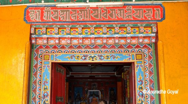 The decorated door of Takpo Buddhist Monastery