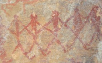 Cave Paintings group dance scene, Ongna, Chhattisgarh