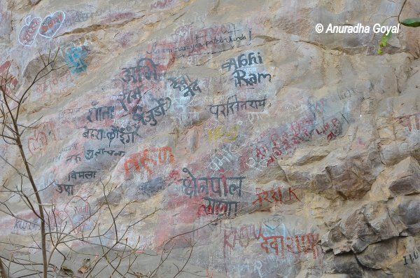 Graffiti over old Cave Paintings
