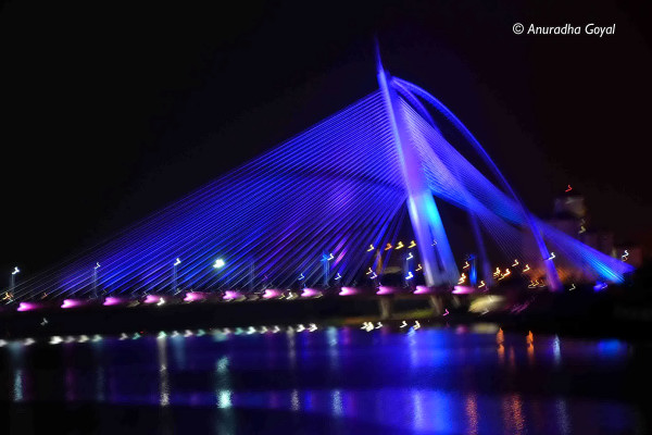 One of the many bridges illuminated at night in Putrajaya