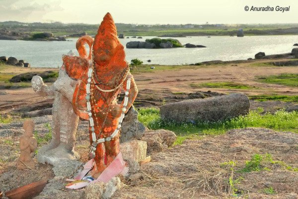 Lord Hanuman Idol by the lake