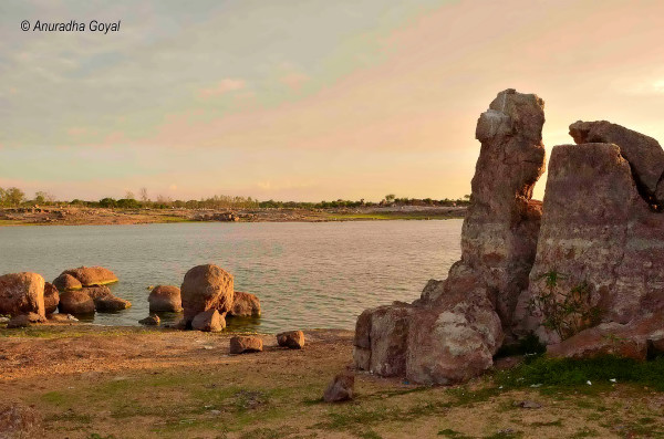 Rocks on banks of Shamirpet Lake