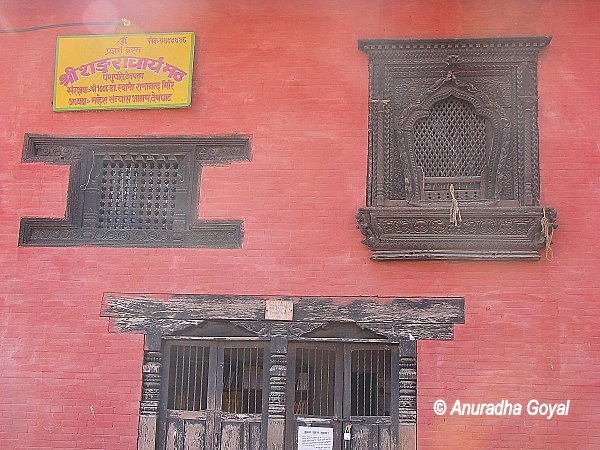 Typical Nepali wooden carved windows at Pashupatinath temple complex
