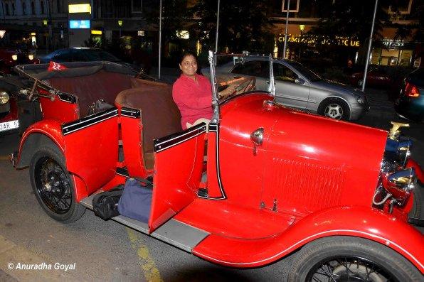 On a Vintage car in Prague