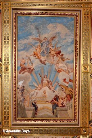 Paintings on the walls of Parliament of Hungary