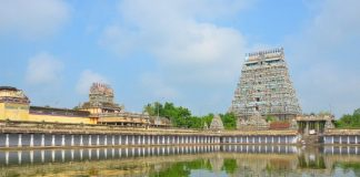 Nataraja Temple, Chidambaram reflecting in the temple tank