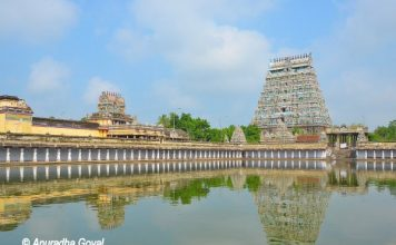 Nataraja Temple, Chidambaram reflecting in the temple tank