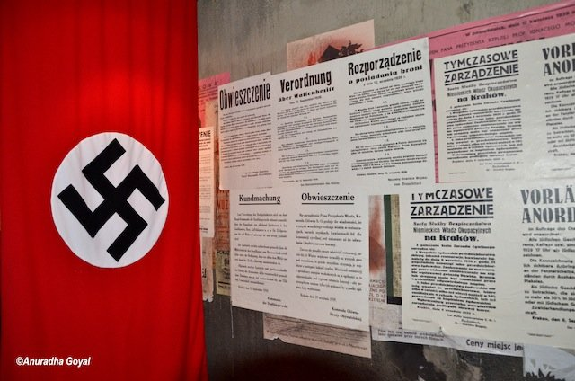 Heritage News Paper clips on display at Schindlers Museum, Krakow