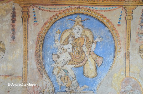 Lord Shiva in dancing pose wall painting