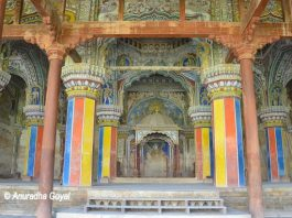Colorful Durbar Hall at Maratha Palace Tanjore