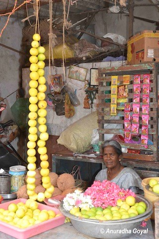 Pooja items on sale at a shop in Chidambaram