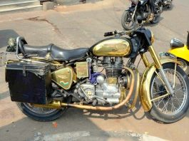 A Golden Bike on the streets of Shah Ali Banda, Hyderabad