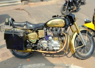 A Golden Bike on the streets of Shah Ali Banda, Hyderabad