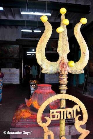 Trishul at a temple in Chidambaram