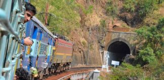 Moments before entering yet another tunnel on Train journey to Araku Valley