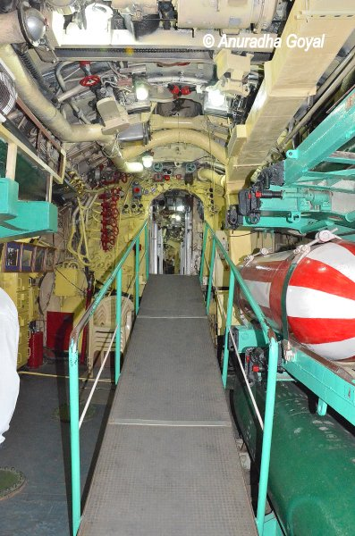Cramped inside of the INS Kursura Submarine Museum