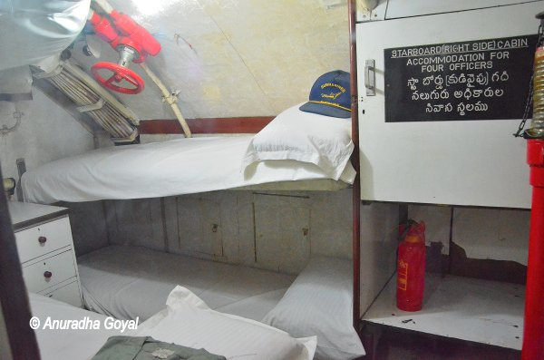 Sleeping provision for four officers inside the submarine, INS Kursura Submarine Museum