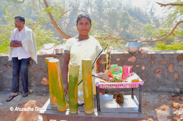 A tribal food stall with Bamboo Chicken on offer at Araku Valley