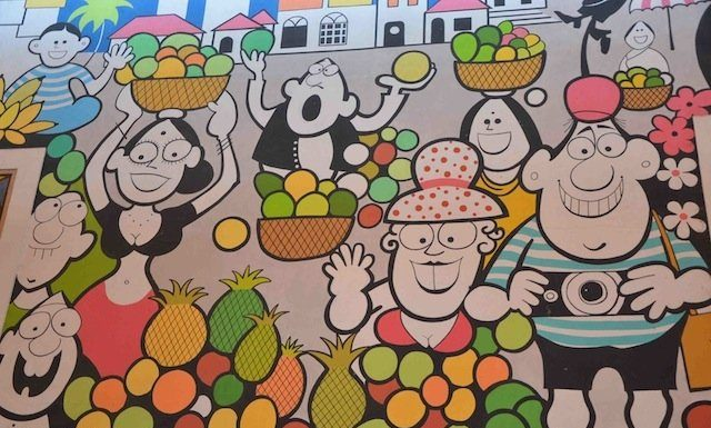Vegetable Market in Mario Miranda style wall murals