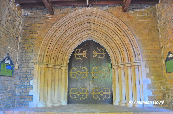 The recessed Arched door at Afghan Church, Colaba, Mumbai