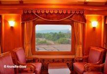 A scene from the plush lounge of Deccan Odyssey