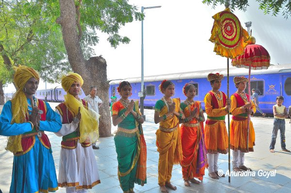 Traditional welcome to the guests on board Deccan Odyssey at Aurangabad Station