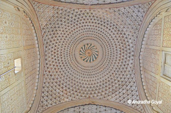 Intricately decorated ceiling of the monument