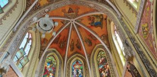 Stained Glass Frescos at Cathedral of the Holy Name, Colaba, Mumbai