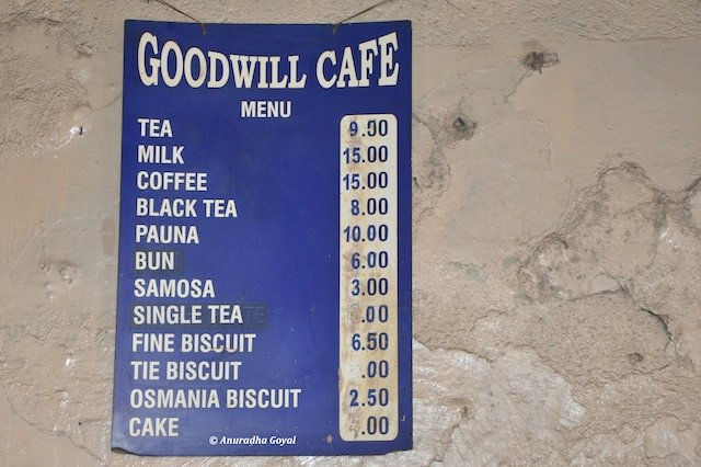 The menu of Goodwill Cafe at Purana Pul